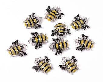 Enamel Bee Charm - Set of 6 - #B122E