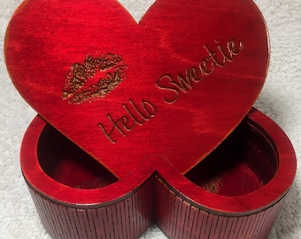 Heart Shaped Wood Storage / Dice Box - Doctor Who - River Song (#3)