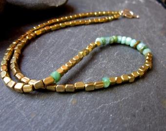 Peruvian Opal Necklace/Brass Necklace/18 inch necklace