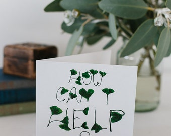 Inspiration Greeting Card, Thinking of you, How Can I help, Thinking about you, Hope you get better soon, Get Well card, Leaf design, Green