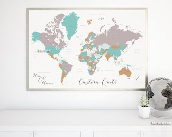 World map print etsy personalized world map print anniversary gift for him travel lover gift couples personalized gumiabroncs Image collections