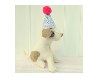 Party Animal!  Little dog softie wearing a party hat pattern pdf instant download