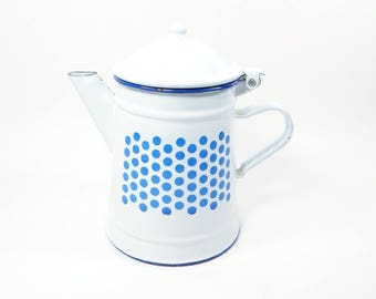 SALE  Enamelware COFFEE POT Blue and White Polka Dot - Enamelware Coffee Pot - Kitchen Collectible - Blue and White