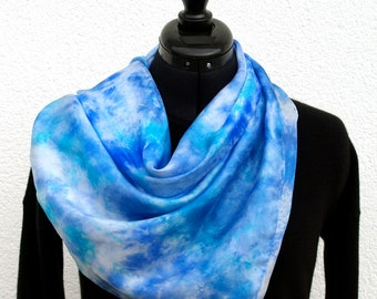 Blue and white hand painted square silk scarf