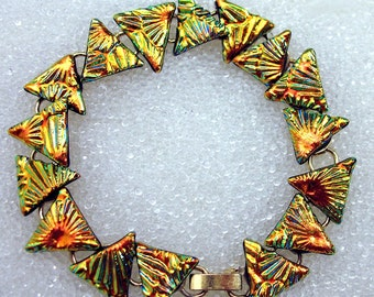 Triangle Bracelet, Dichroic Fused Glass Bracelet in Fiery Golden Triangles