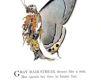 Gray Hair Streak, Acadian Hair Streak Butterfly - 1914 Antique Book Page - Butterfly Babies, Butterfly Children - 9 x 6