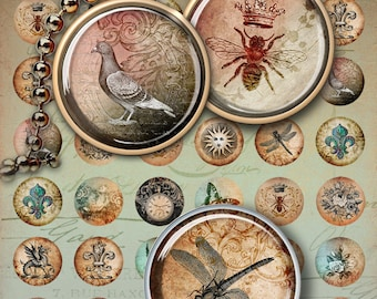 1 inch (25mm) and 1.5 inch size images WISDOM CIRCLES Printable download Digital Collage Sheets for Circle Pendants bezel trays magnets
