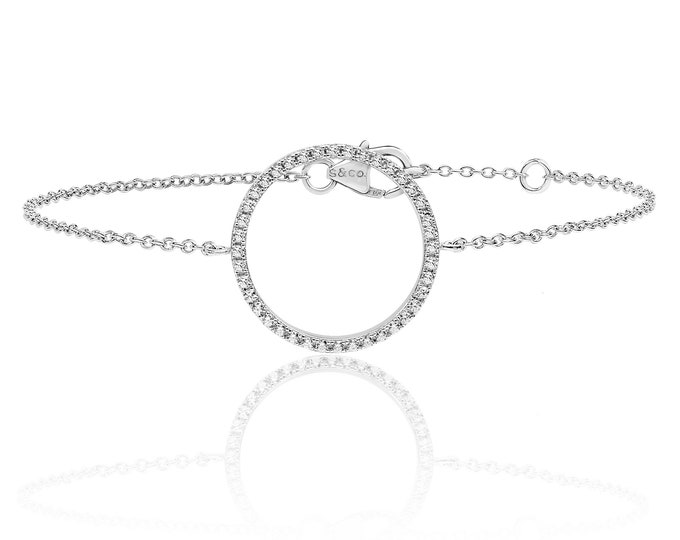 """925 Sterling Silver Cz Circle of Life 7"""" Bracelet Rhodium Plated"""