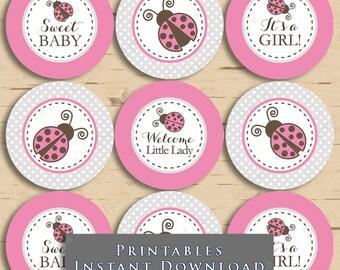 Ladybug Baby Shower Cupcake Toppers Printable  Tags Pink and Grey Polka Dot DIY Printable INSTANT DOWNLOAD LB03