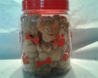 Treat Jar with large paw print treats