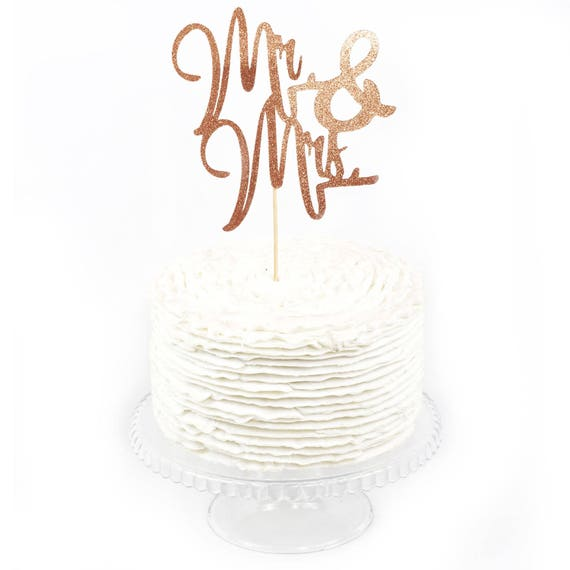 Mr & Mrs Rose Gold Glitter Cake Toppers, Toothpick Cake Topper, Rose Gold Cake, Rose Gold Wedding Cake Topper, Bridal Cake Bachelorette