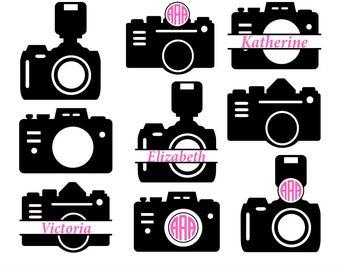 Camera svg, camera monogram Svg, photography svg, photography monogram, Camera Clipart, Camera Silhouette, Cricut Files, svg, dxf, eps, png.