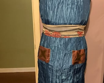 Blue Dress with leather pockets