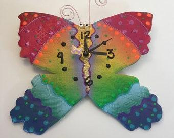 Children's Clock,Kids Wall Clock,Unique Clock,Handmade clock, Happy Butterfly Clock, Unique wall Clock, Decorative Wall Clock, Ceramic Clock