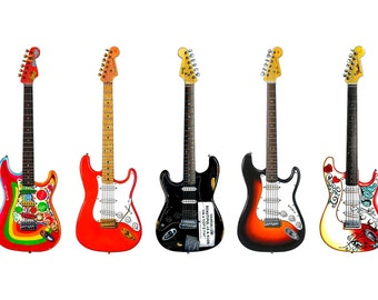 Stratocaster Guitar Panorama Print. 7 Famous Fender Stratocasters