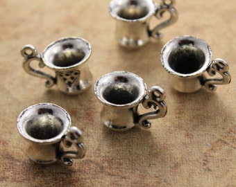 10 Coffee Cup Charms Tea Cup Charms Antiqued Silver Tone 3D 10 x 15 mm