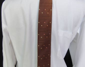 Vintage Skinny Tie in Silk by Hut, Hut Vintage Silk Tie, Vintage Hut Silk Tie in Copper with Silver and Copper Designs, ca. 1950s