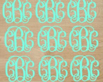 Vine Monogram Stickers Sheet, Monogram Sticker Decal Set Pack, Water Bottle or Tumbler Stickers