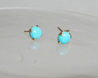 Sleeping Beauty Turquoise 6mm Cabochon 14Kt Gold Filled or Sterling Silver Ear Stud Post Earrings Genuine Turquoise