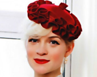 The Cassia Hat - Red Box Pleat Velour Fascinator Hat - Luxury Fashion Beret Style - Hat for Races - Designer Millinery
