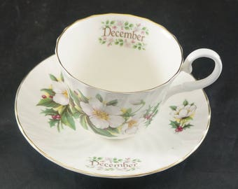 Royal Stuart Fine Bone China Cup and Saucer Flower of Month December