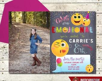 Emoji Invitation, Emoji Birthday Invitation, Emoji Party, Emoji, Invitation, Photo, Birthday, Card, Printable, Digital, Print file, invite