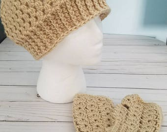 New Women's Crochet Infinity Scarf with Matching Messy Bun Hat and Fingerless Gloves   Bone Color   More Colors Available