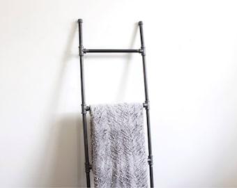 Blanket ladder • Industrial decor • black blanket ladder • pipe blanket ladder • farmhouse ladder • blanket ladder 5 ft •blanket ladder 6 ft