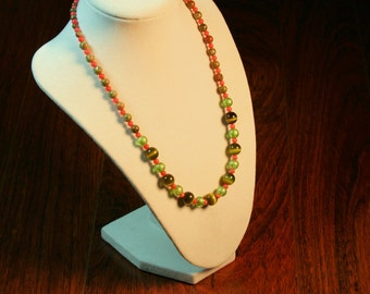 Pink and Green Beaded Necklace and Earrings