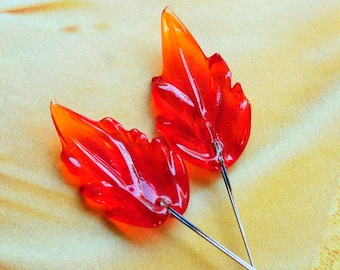 Red Orange Hand Pressed and Drawn Glass Leaves Leaf with Wires, Wired Glass Leaves, Chandelier Crystals, Translucent, (A1-R1-C5) Quantity 2