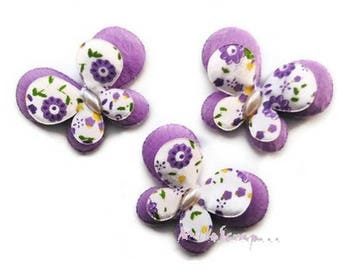 Set of 5 fabric butterflies purple embellishment scrapbooking card making *.