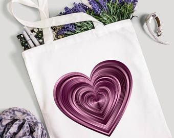 Heart tote bag, tote bag, canvas tote bag, cute shopping bag, market bag, gym bag, shopping bag, gift for her