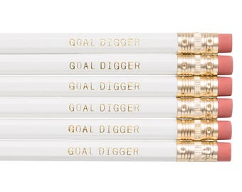GOAL DIGGER pencils. Back to school supplies. Gifts for grads. Gold pencils. Cute pencils. Funny pencil set. Gifts for her. Back to school.