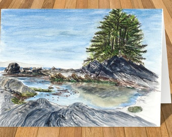 Art Card of Port Renfrew, Vancouver Island, BC, Canada Watercolour Print
