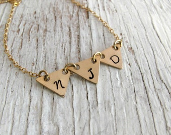 Gold Triangle Pennant Necklace, Bunting Necklace, 3 Triangles, Personalized, Hand Stamped