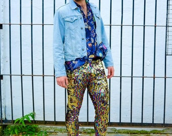 Burning Man Leggings, Rainbow Sequin Meggings, Mens Festival Costume, Mens Sequin Pants | Sparklebutt