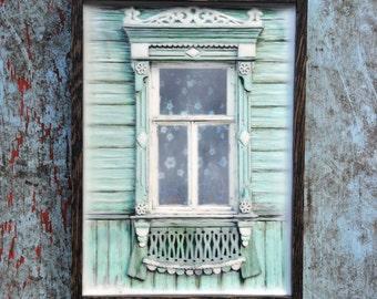 Russian decorative dacha window. Original Encaustic Photography. Rostov, Russia. Fine art wall decor. Light green. Framed 5x7
