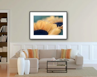 Extra large wall art, flower photography, sunflower photo print, huge wall art 24 x 36, oversized art print, floral yellow blue artwork