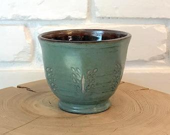 Blue-green Coffee Cup / Leaves / Stoneware / Carved / Handmade / Wheel Thrown Cup / Bluebird Raku