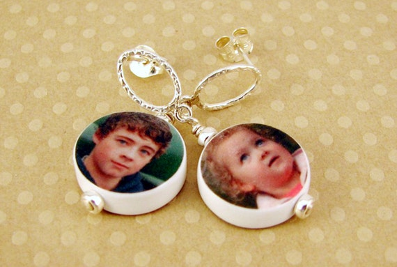 Custom Photo Charm Earrings - Handmade, Round Mini Charms on Sterling Posts - AC8x2Er