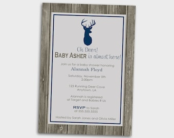 PRINTABLE INVITATIONS Grey and Navy Blue Baby Shower Invitation - Oh Deer a Baby Boy is Almost Here - Memorable Moments Studio