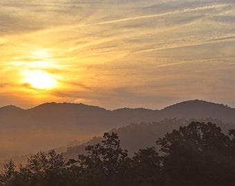 Sunrise Photo, Orange and gold, fine photography prints, West Virginia Sunrise