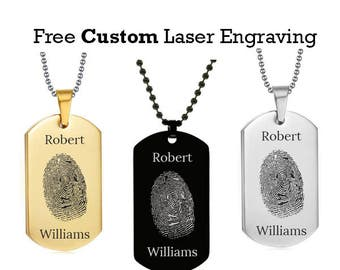 Personalized Fingerprint Dog Tag w/ Two Name - Laser Engraved Fingerprint Dog Tag