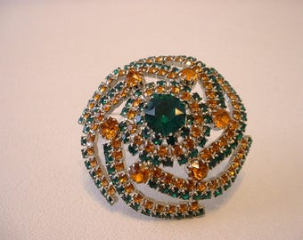 Vintage Large Pinwheel Circle of RHINESTONES Pin Brooch (E186)