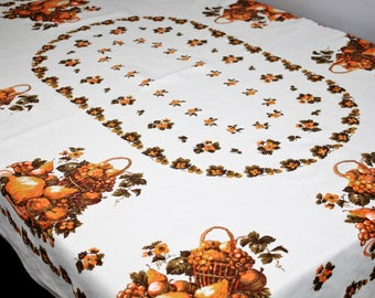 60's vintage fall harvest tablecloth, 62 x 50 Thanksgiving, mid century table cloth, rustic linen, rust orange brown, retro linen tablecloth