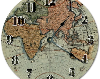 Globe clock etsy 105 map of the world clock living room clock large 105 wall clock home dcor clock 5140 gumiabroncs Gallery