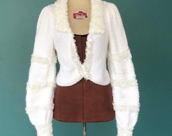 Bolero Sweater Shrug Bolero Shrug Sweater White Sweater Cropped Sweater Sweater Top Knitted Bolero Small Medium TaraLynEvansStudio