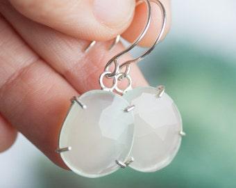 Aqua - sterling silver drop earrings with Green Aqua Chalcedony gemstones, irregular shaped stone, transparent dangle earrings