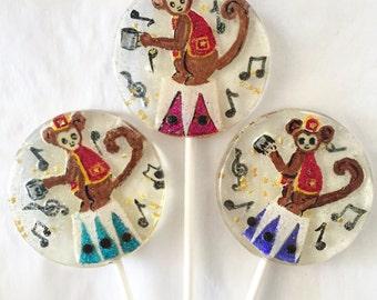3 Organ Grinder Circus Monkey Retro Kids Birthday Wedding Party FavorsLollipops