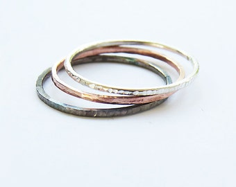 Set of 3 Mixed Stacking Ring, Super Thin 1 mm Stacking Rings, Hammered Ring, Copper Ring, Oxidized Rings, 925 Sterling Silver Rings